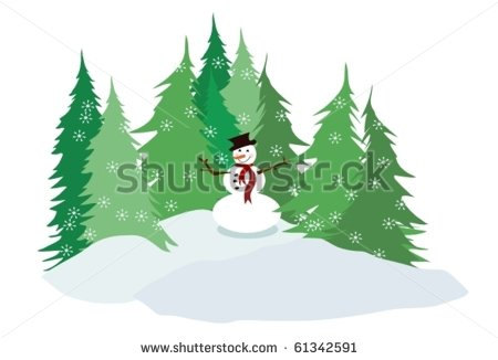 Snowman Vector With Falling Snowflakes And Pine Tree Farm Or Forest In