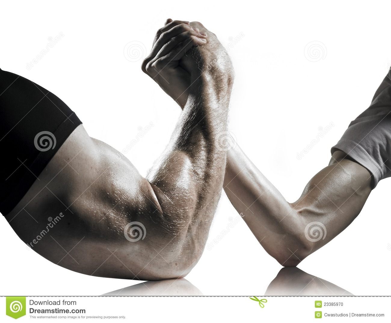 Strong And Weak Men Arm Wrestling Stock Photo   Image  23385970