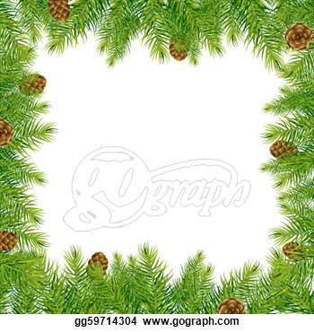 Vector Art   Border With Christmas Tree And Pine Cone  Clipart Drawing