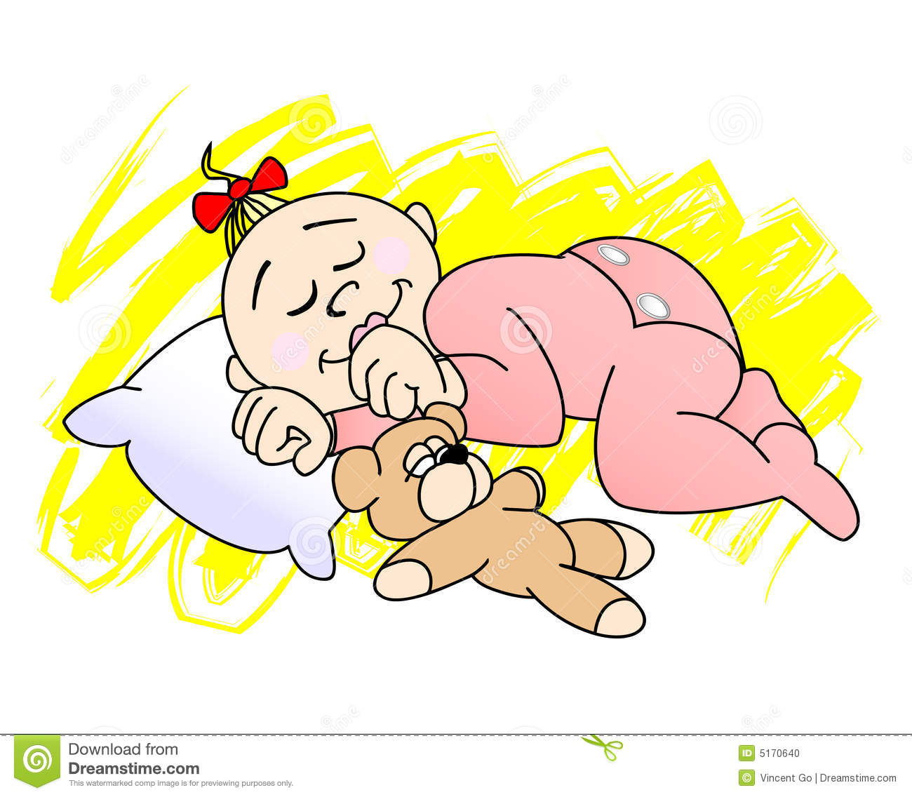 Vector Illustration Of A Baby Girl Sleeping With Her Teddy Bear