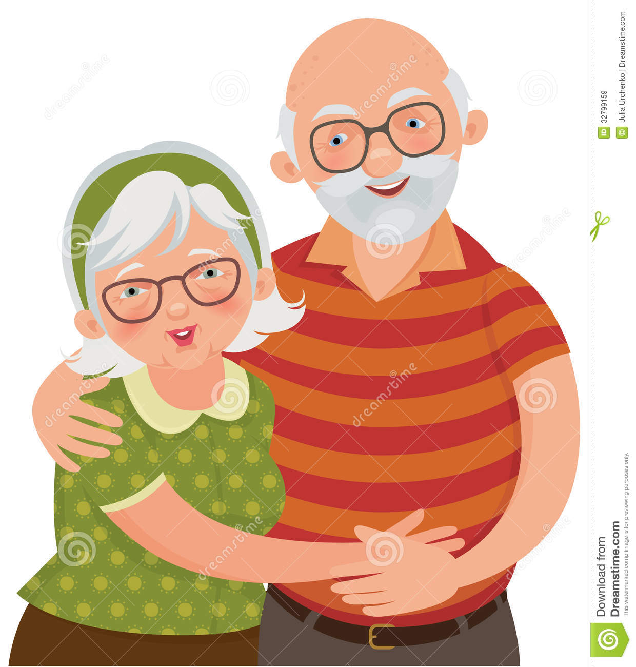 Vector Illustration Of A Loving Elderly Couple
