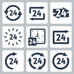 24 Hours Symbols Vector Vector 24 Hours Symbols 24 Hours Sign Sun And
