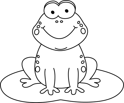 Black And White Cartoon Frog On A Lily Pad Clip Art   Black And White