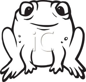 Black And White Frog Clipart Image