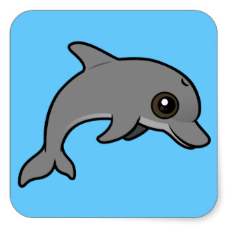 Bottlenose Dolphin Jumping Common Bottlenose Dolphin Square Sticker