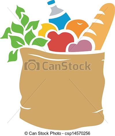 Clip Art Grocery Bag Clipart grocery bag clipart kid vector of groceries stencil illustration full