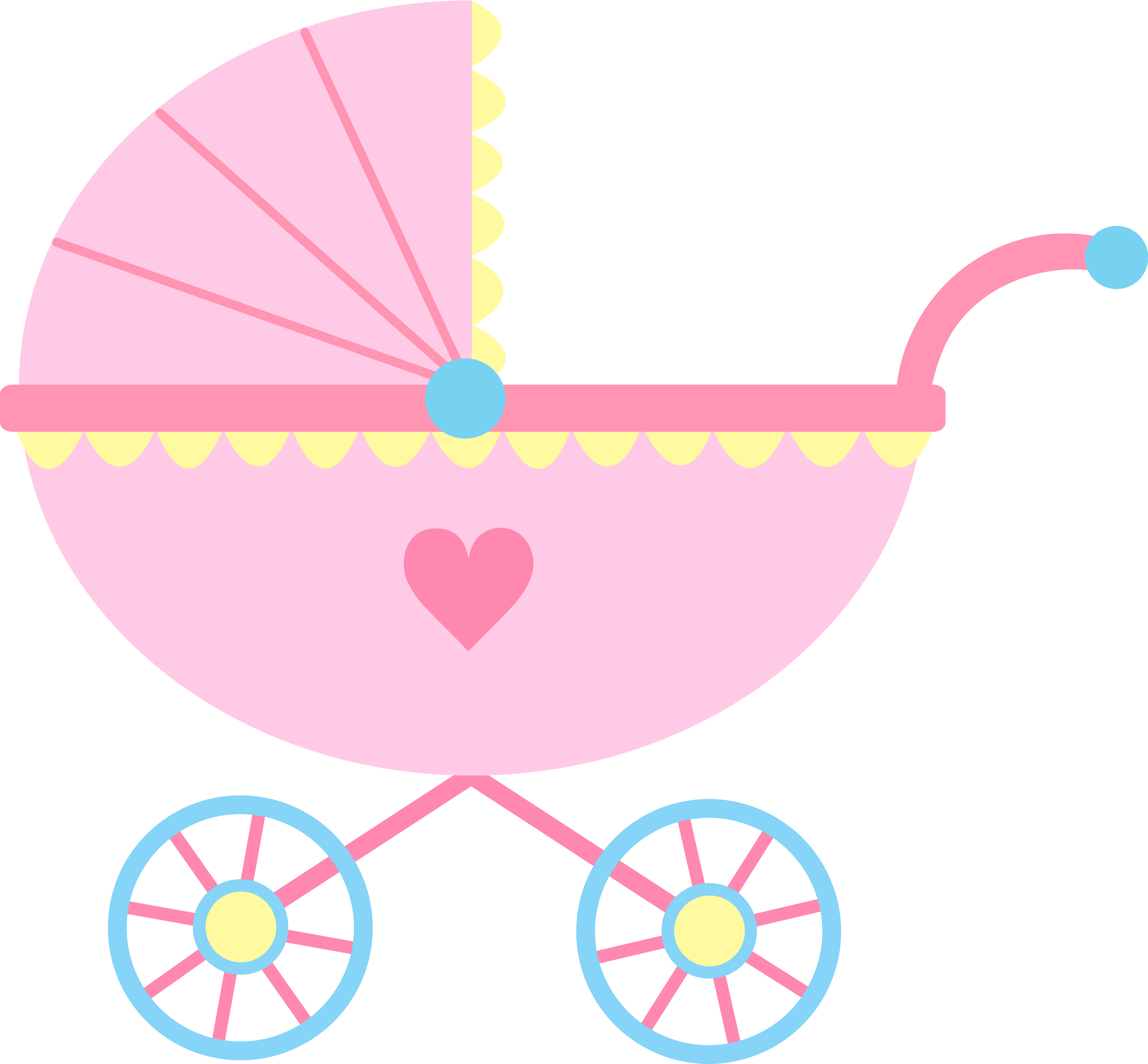 Cute Pink Baby Carriage Free Clip Art   Black Background And Some Ppt