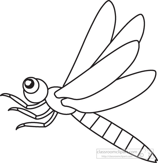 Dragonfly Insects Black White Outline 947   Classroom Clipart