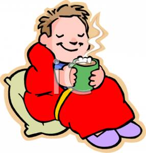Drinking Hot Cocoa Wrapped In A Blanket   Royalty Free Clipart Picture
