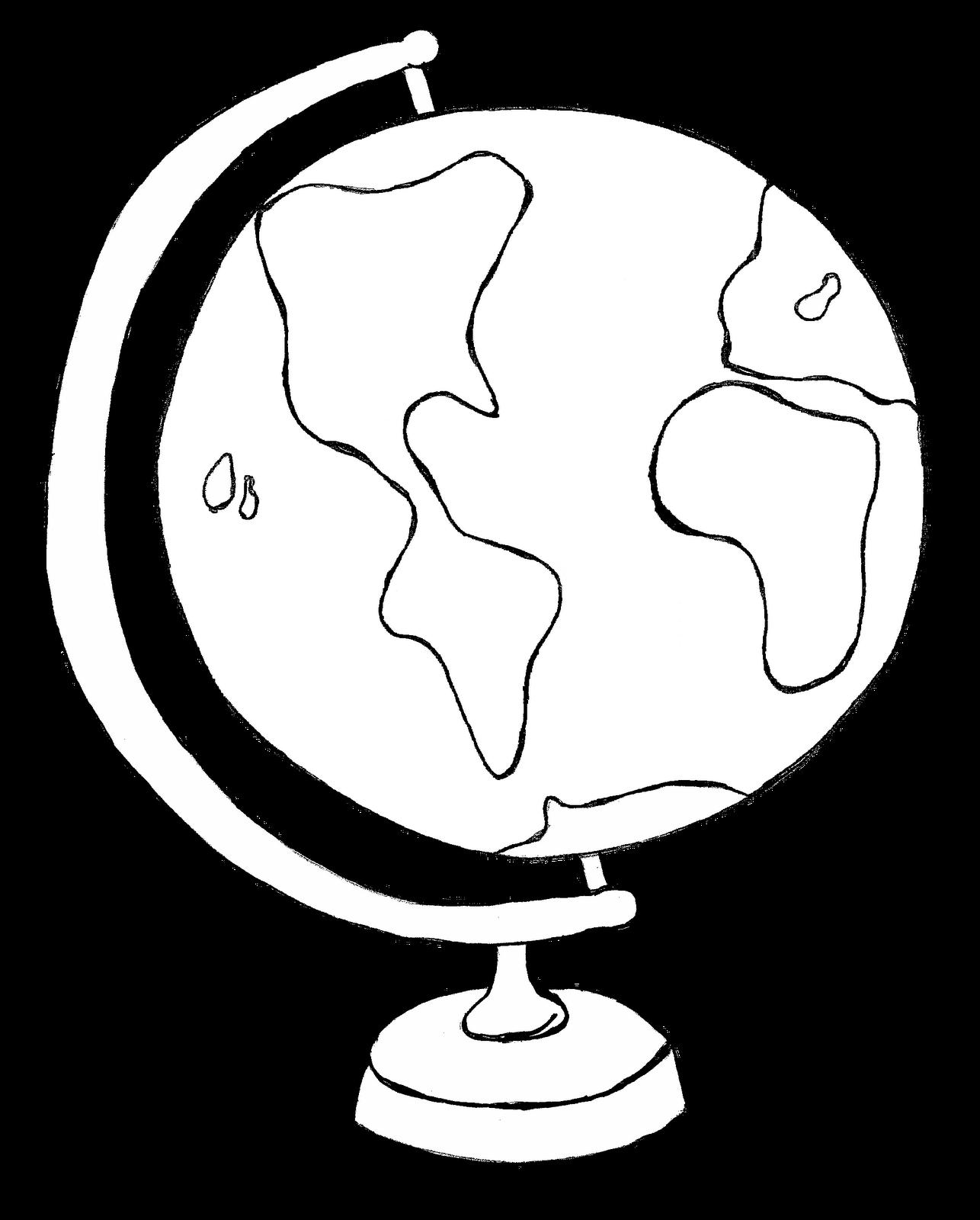 World Globe Black And White Clipart - Clipart Kid