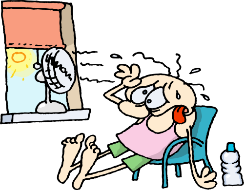 Gnurf Cartoon Character Suffers In A Heat Wave   An Open Window And