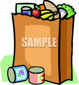 Grocery Bag Filled With Food And Two Cans Beside It   Royalty Free