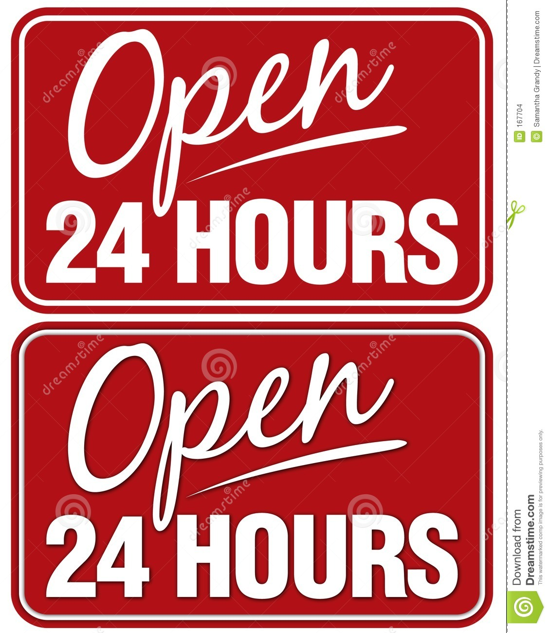 Open 24 Hours Sign Top Sign Flat Style  Bottom Sign Has Shadowing For