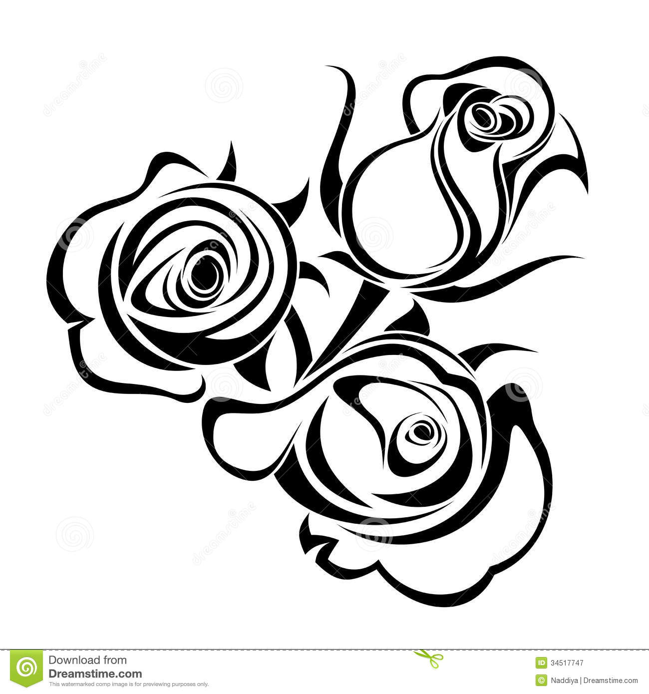 Rose Bouquet Clip Art Black And White Rose Buds Black Silhouettes