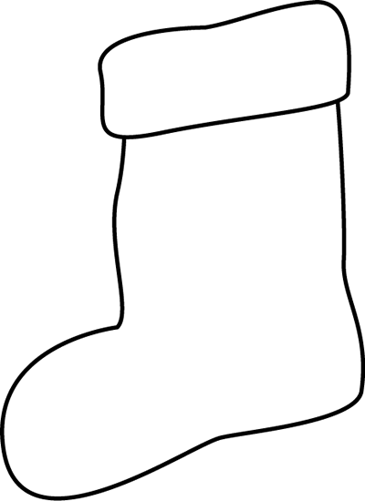Stocking Clip Art   Outline Of A Black And White Christmas Stocking