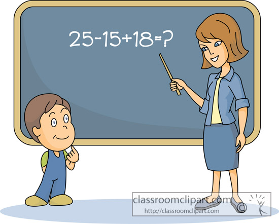 Student Solving Math Problem Teacher 1233   Classroom Clipart