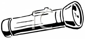 Clipart Image  A Black And White Flashlight