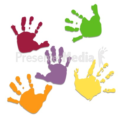 Five Colored Hand Prints   Medical And Health   Great Clipart For