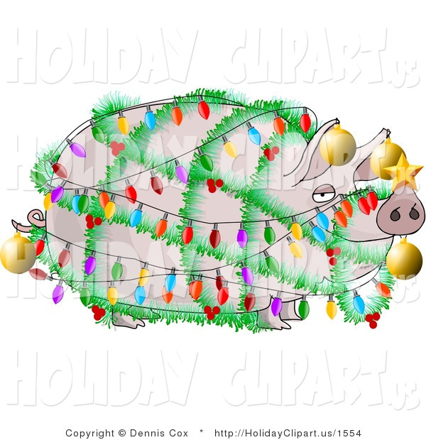 Holiday Clip Art Of A Funny Plump Pig Decorated With Christmas Lights
