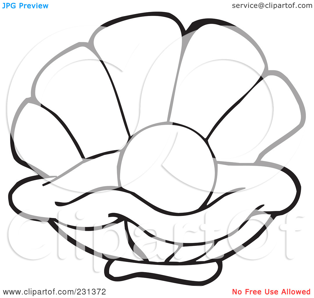 Clam Shell Coloring Pages Oysters outline clipart - clipart kid