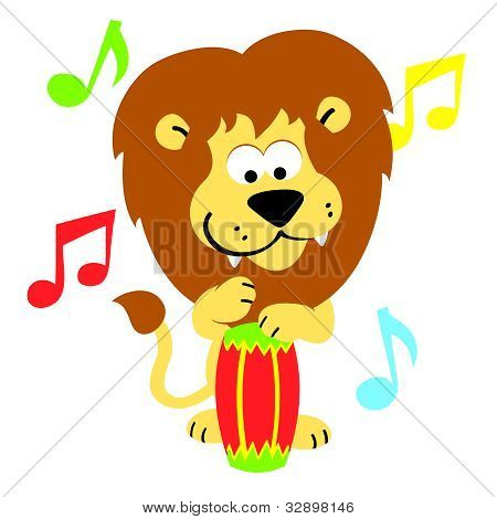 Lion On Bongos Drums Illustration Cartoon King Of The Jungle Jamming