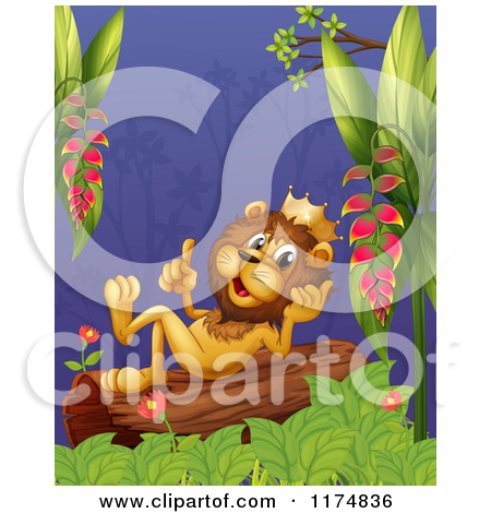 Of A King Lion Thinking On A Jungle Log   Royalty Free Vector Clipart