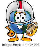Of A World Globe Cartoon Character In A Helmet Holding A Football