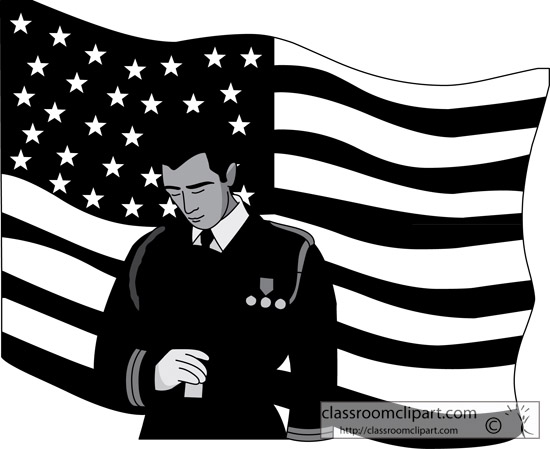 And White Clipart  Soldier Flag Veterans Day Bw   Classroom Clipart