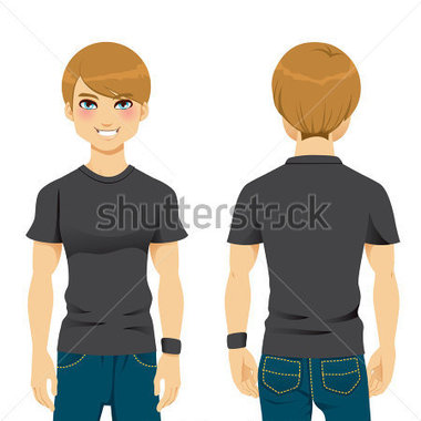 Back View Of Handsome Man Wearing Blank Black Tight Tshirt Template