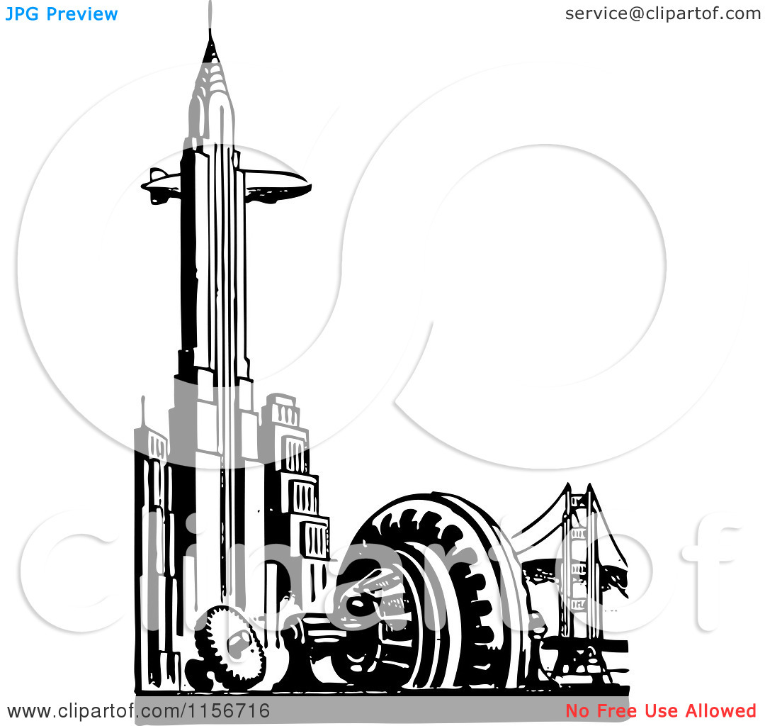 Clipart Of A Black And White Retro Blimp And Chrysler Building In New