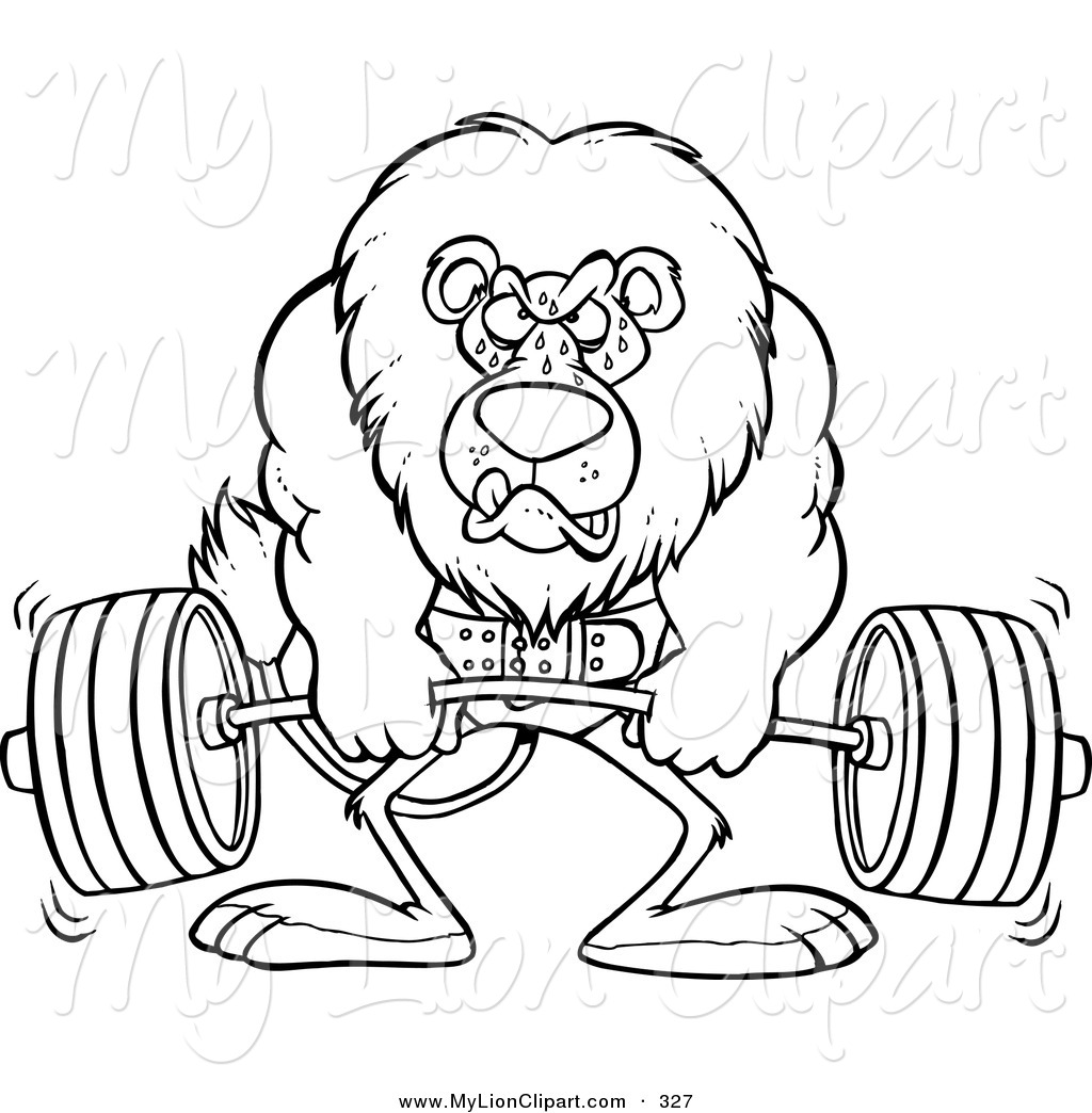Clipart Of A Cartoon Black And White Outline Design Of A Gym Trainer