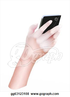 Clipart   Person Hand Using A Generic Smart Phone  Stock Illustration