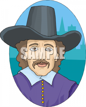 Colonial Man Wearing A Wide Brimmed Hat Clip Art