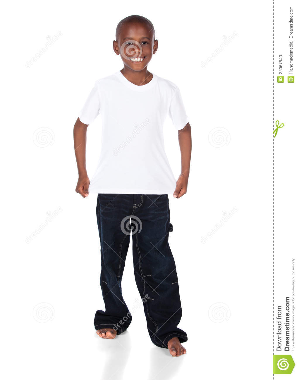Cute African Boy Wearing A Bright White T Shirt And Dark Denim Jeans