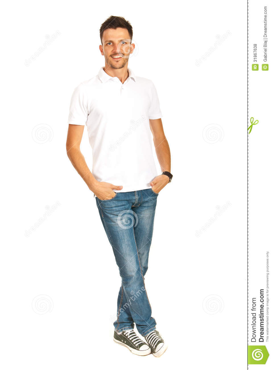 Guy In White T Shirt And Jeans