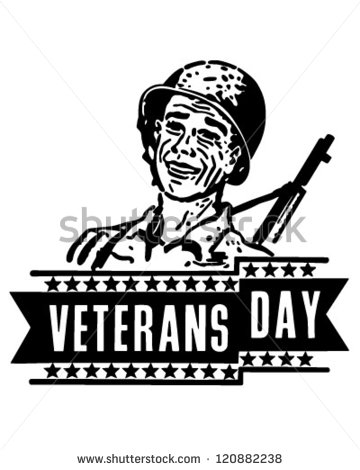 Veterans Day Banner   Retro Clipart Illustration   120882238