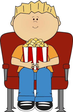 Watching Movie With Popcorn Clip Art Image   Boy In A Theater Watching