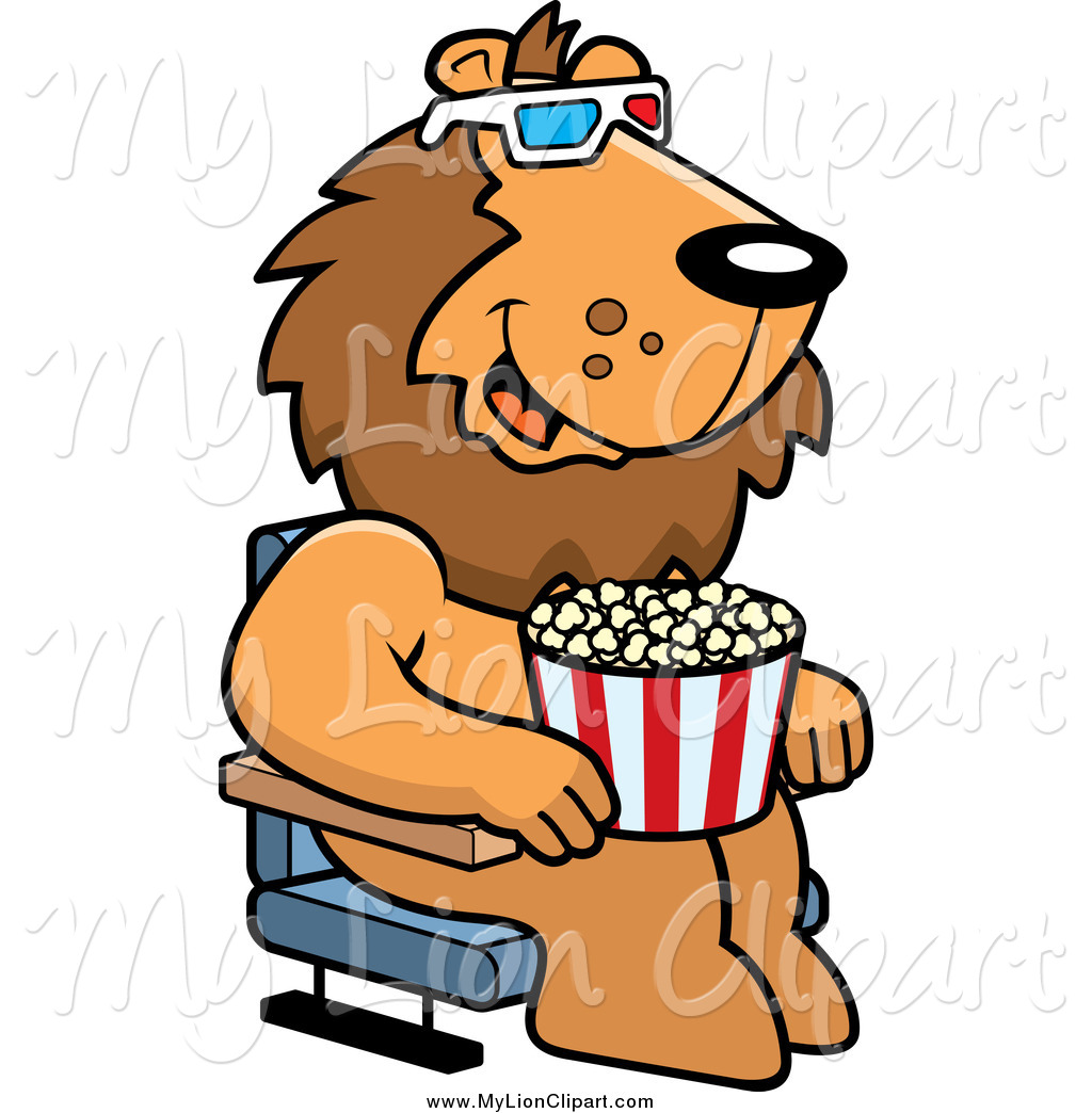 Watching Movies Clipart Clipart Of A Lion Eating Popcorn And Watching