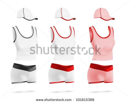 Women S Blank Sport T Shirt Shorts And Hat Template Set    Stock