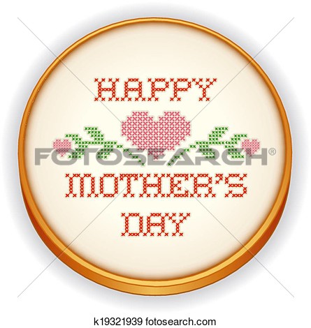 Art   Mothers Day Hearts Embroidery Hoop  Fotosearch   Search Clipart