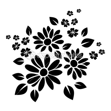 Black Silhouette Of Flowers  Vector Illustration    Stock Vector