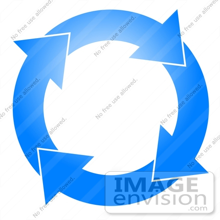 Blue Circle With Four Arrows Moving Clockwise Clipart    15804 By