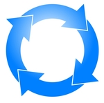 Blue Circle With Four Arrows Moving Clockwise Clipart