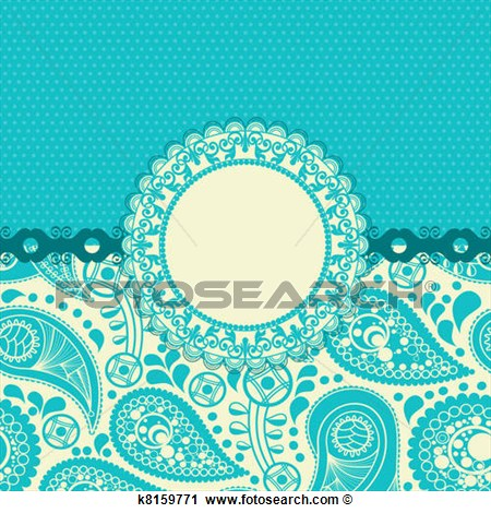 Clipart   Paisley Flower Gift Card In Trendy Turquoise  Fotosearch