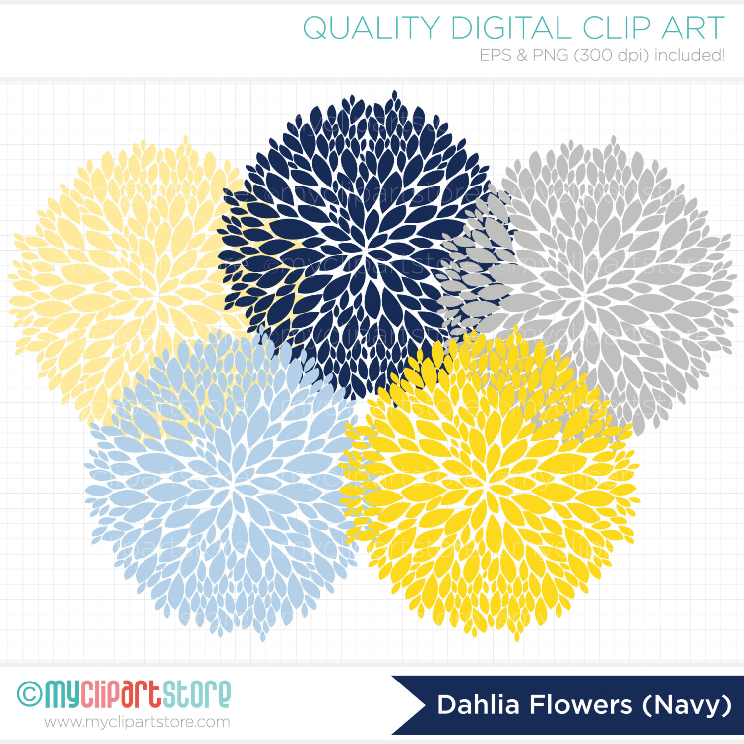 Dahlia Flowers Navy Blue Yellow Grey Clip Art   By Myclipartstore