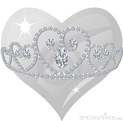 Diamond Tiara And Crystal Heart Stock Images   Image  8904254