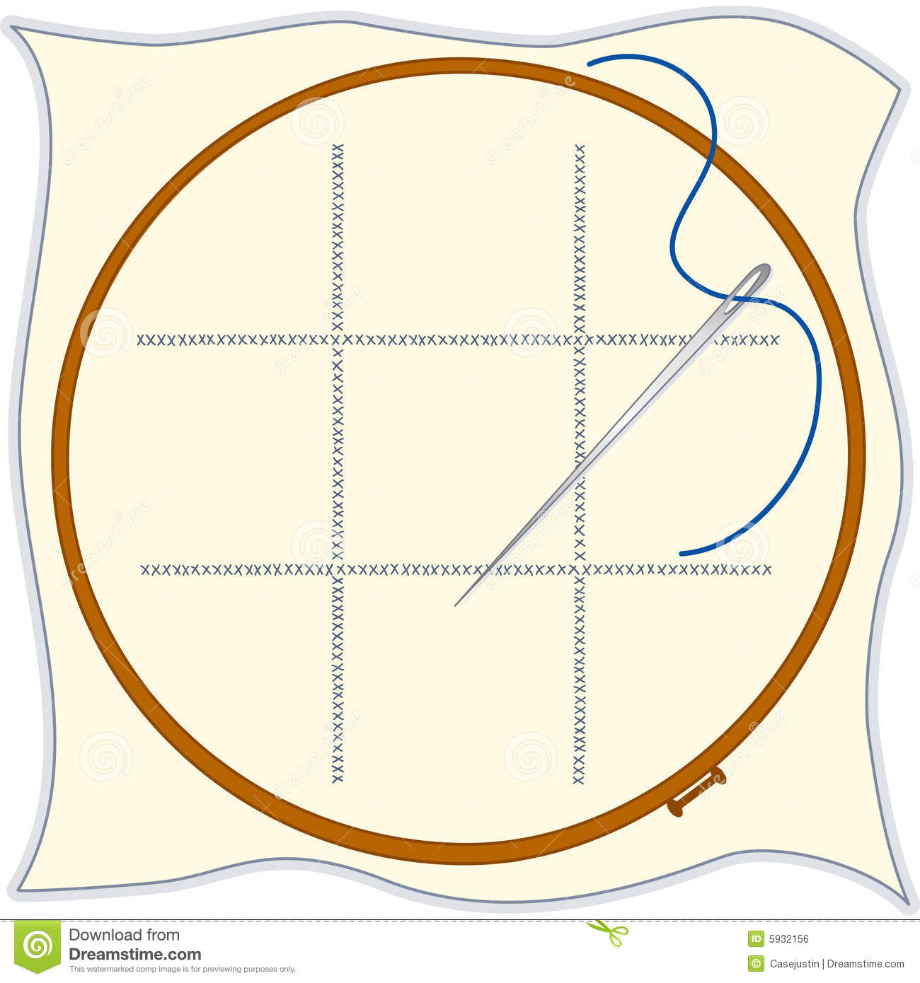 Embroidery Hoop Cross Stitch Needle   Threa Royalty Free Stock Image