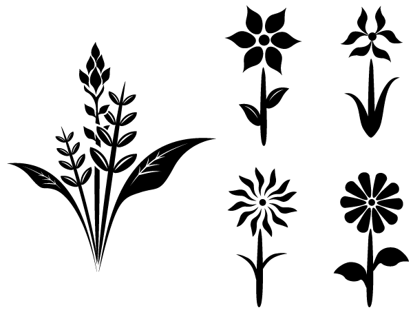 Flower Plant Silhouettes   Free Vector Clipart