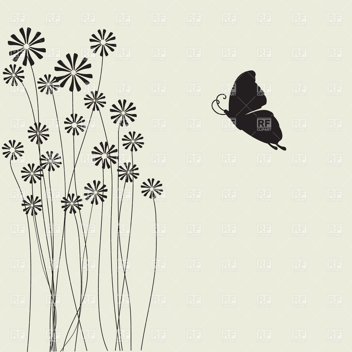 Flowers With Long Stems And Butterfly Silhouette 23809 Plants And