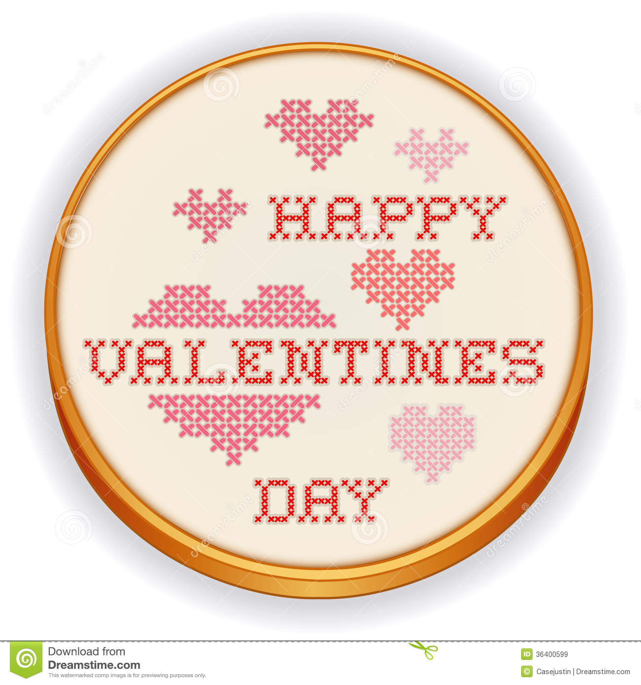 Happy Valentines Day Cross Stitch Embroidery Royalty Free Stock Images
